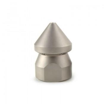 Ugello a testa conica per stasare tubazioni domestiche con inserti in acciaio inox e ceramica